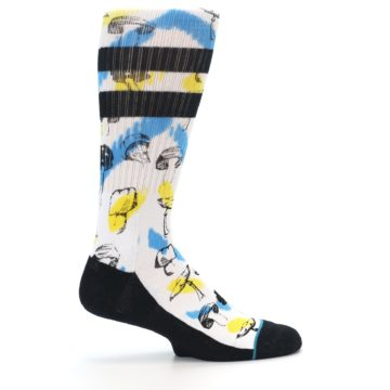 Image of White Blue Yellow Mushrooms Men's Casual Sock (side-1-24)