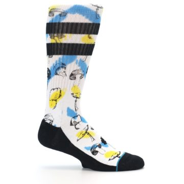 Image of White Blue Yellow Mushrooms Men's Casual Sock (side-1-25)