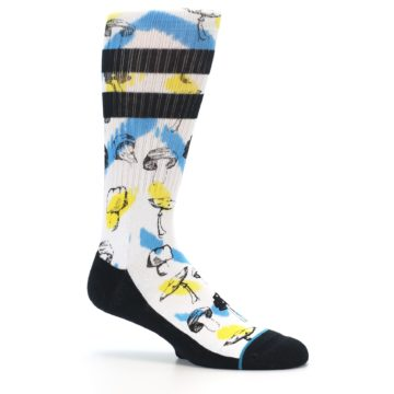 Image of White Blue Yellow Mushrooms Men's Casual Sock (side-1-26)