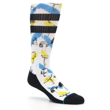 Image of White Blue Yellow Mushrooms Men's Casual Sock (side-1-27)