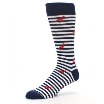 Image of Navy Red White Lobster Men's Dress Socks (side-2-09)