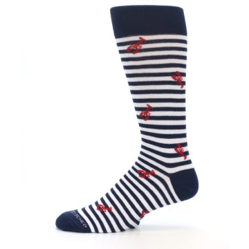 Image of Navy Red White Lobster Men's Dress Socks (side-2-11)
