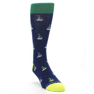 Image of Navy Green Sail Boats Men's Dress Socks (side-1-front-02)