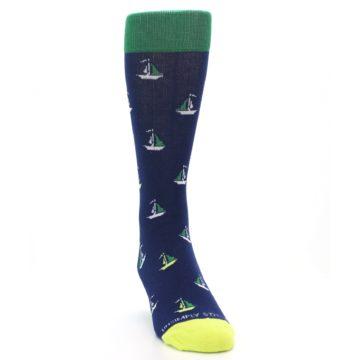 Image of Navy Green Sail Boats Men's Dress Socks (side-1-front-03)