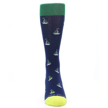 Image of Navy Green Sail Boats Men's Dress Socks (front-04)