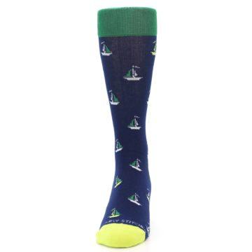 Image of Navy Green Sail Boats Men's Dress Socks (front-05)
