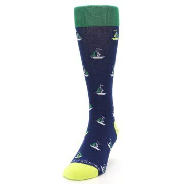 Image of Navy Green Sail Boats Men's Dress Socks (side-2-front-06)