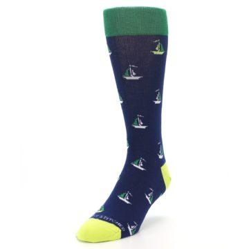 Image of Navy Green Sail Boats Men's Dress Socks (side-2-front-07)