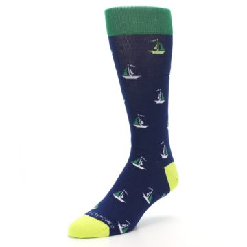 Image of Navy Green Sail Boats Men's Dress Socks (side-2-front-08)