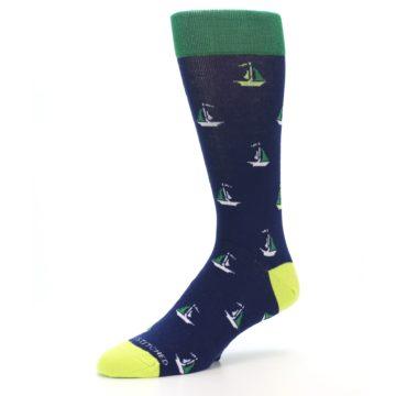 Image of Navy Green Sail Boats Men's Dress Socks (side-2-09)
