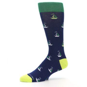 Image of Navy Green Sail Boats Men's Dress Socks (side-2-10)