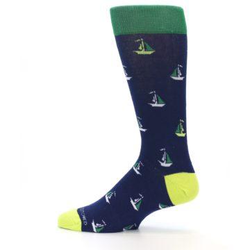 Image of Navy Green Sail Boats Men's Dress Socks (side-2-12)