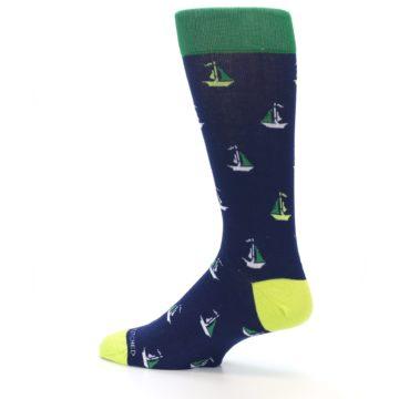 Image of Navy Green Sail Boats Men's Dress Socks (side-2-13)