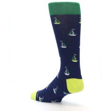 Image of Navy Green Sail Boats Men's Dress Socks (side-2-back-14)
