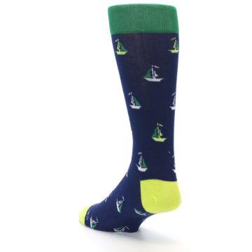 Image of Navy Green Sail Boats Men's Dress Socks (side-2-back-15)