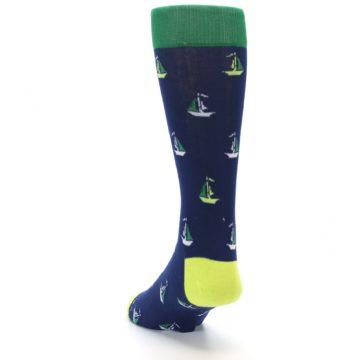 Image of Navy Green Sail Boats Men's Dress Socks (side-2-back-16)