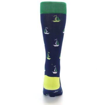 Image of Navy Green Sail Boats Men's Dress Socks (back-18)