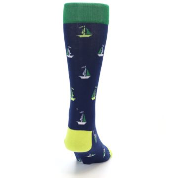 Image of Navy Green Sail Boats Men's Dress Socks (back-19)