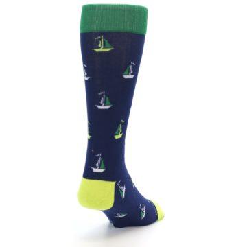 Image of Navy Green Sail Boats Men's Dress Socks (side-1-back-20)