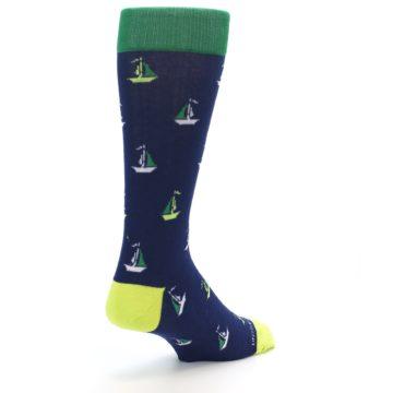 Image of Navy Green Sail Boats Men's Dress Socks (side-1-back-21)