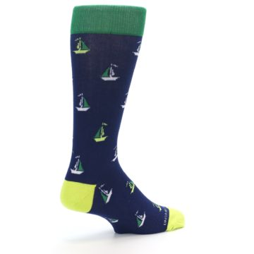 Image of Navy Green Sail Boats Men's Dress Socks (side-1-back-22)