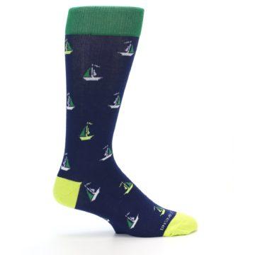 Image of Navy Green Sail Boats Men's Dress Socks (side-1-24)