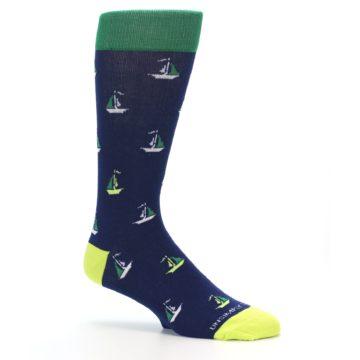Image of Navy Green Sail Boats Men's Dress Socks (side-1-26)