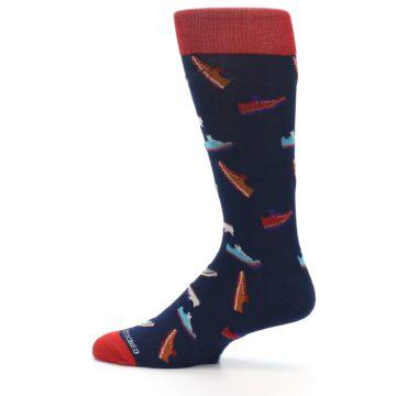 Image of Navy Multi Shoes Men's Dress Socks (side-2-12)