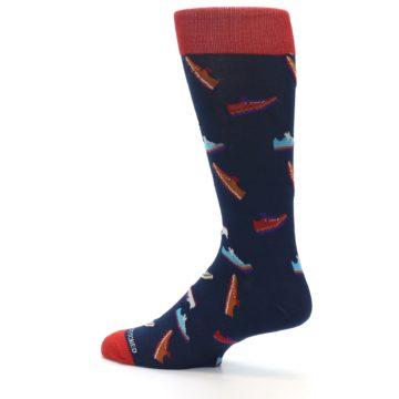 Image of Navy Multi Shoes Men's Dress Socks (side-2-13)