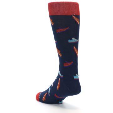 Image of Navy Multi Shoes Men's Dress Socks (side-2-back-15)