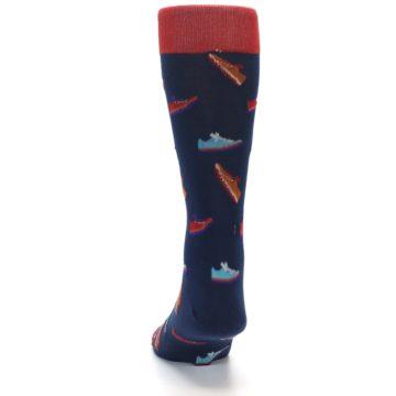 Image of Navy Multi Shoes Men's Dress Socks (back-17)