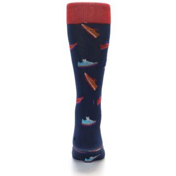 Image of Navy Multi Shoes Men's Dress Socks (back-18)