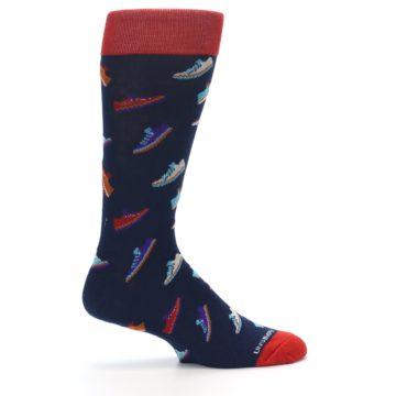 Image of Navy Multi Shoes Men's Dress Socks (side-1-24)