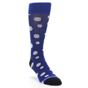 Image of Blue Herringbone Dots Men's Dress Socks (side-1-front-02)