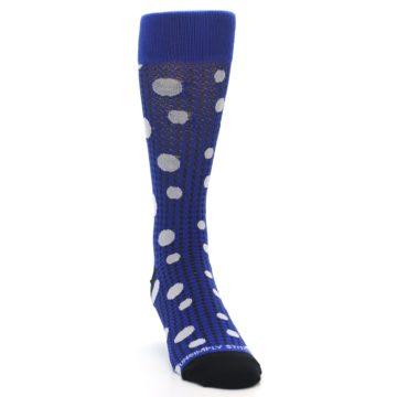 Image of Blue Herringbone Dots Men's Dress Socks (side-1-front-03)