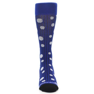 Image of Blue Herringbone Dots Men's Dress Socks (front-04)