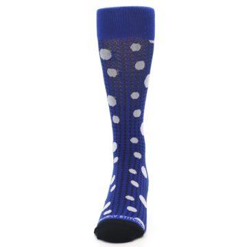 Image of Blue Herringbone Dots Men's Dress Socks (front-05)
