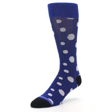 Image of Blue Herringbone Dots Men's Dress Socks (side-2-front-08)
