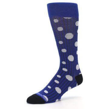 Image of Blue Herringbone Dots Men's Dress Socks (side-2-09)