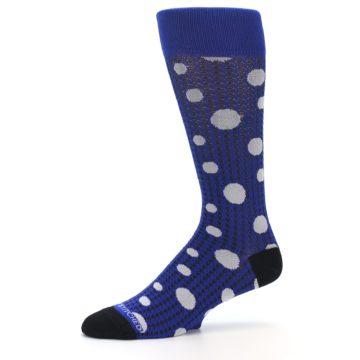 Image of Blue Herringbone Dots Men's Dress Socks (side-2-10)