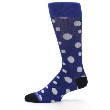 Image of Blue Herringbone Dots Men's Dress Socks (side-2-11)