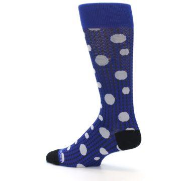Image of Blue Herringbone Dots Men's Dress Socks (side-2-13)