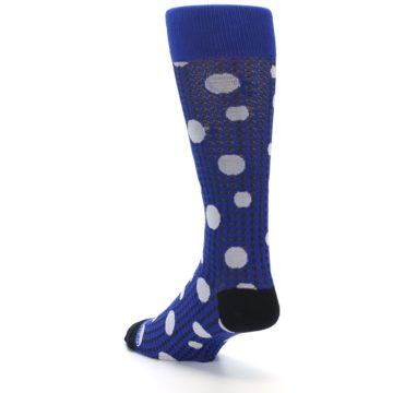 Image of Blue Herringbone Dots Men's Dress Socks (side-2-back-15)