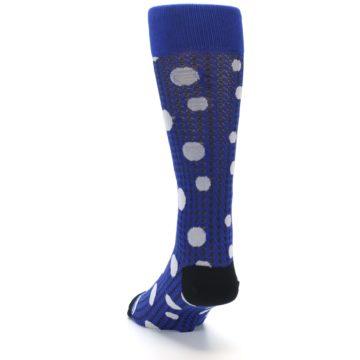 Image of Blue Herringbone Dots Men's Dress Socks (side-2-back-16)