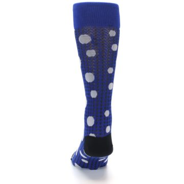 Image of Blue Herringbone Dots Men's Dress Socks (back-17)