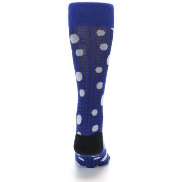 Image of Blue Herringbone Dots Men's Dress Socks (back-18)