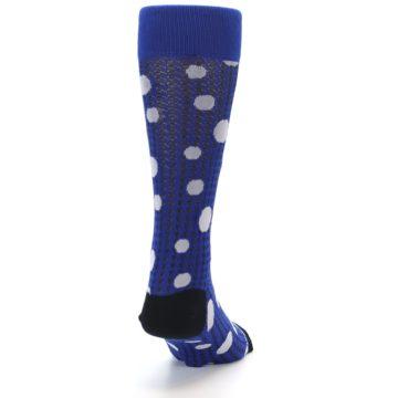 Image of Blue Herringbone Dots Men's Dress Socks (back-19)