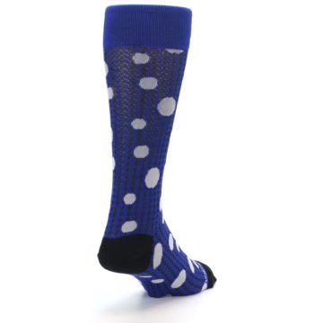 Image of Blue Herringbone Dots Men's Dress Socks (side-1-back-20)