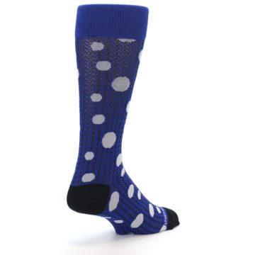 Image of Blue Herringbone Dots Men's Dress Socks (side-1-back-21)