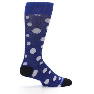 Image of Blue Herringbone Dots Men's Dress Socks (side-1-23)